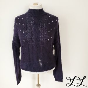Abound Sweater Purple Chunky Knit Cable Loose Knit
